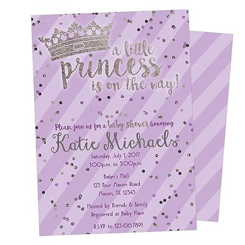 Amazon purple silver princess baby shower invitations girl purple silver princess baby shower invitations girl crown tiara filmwisefo
