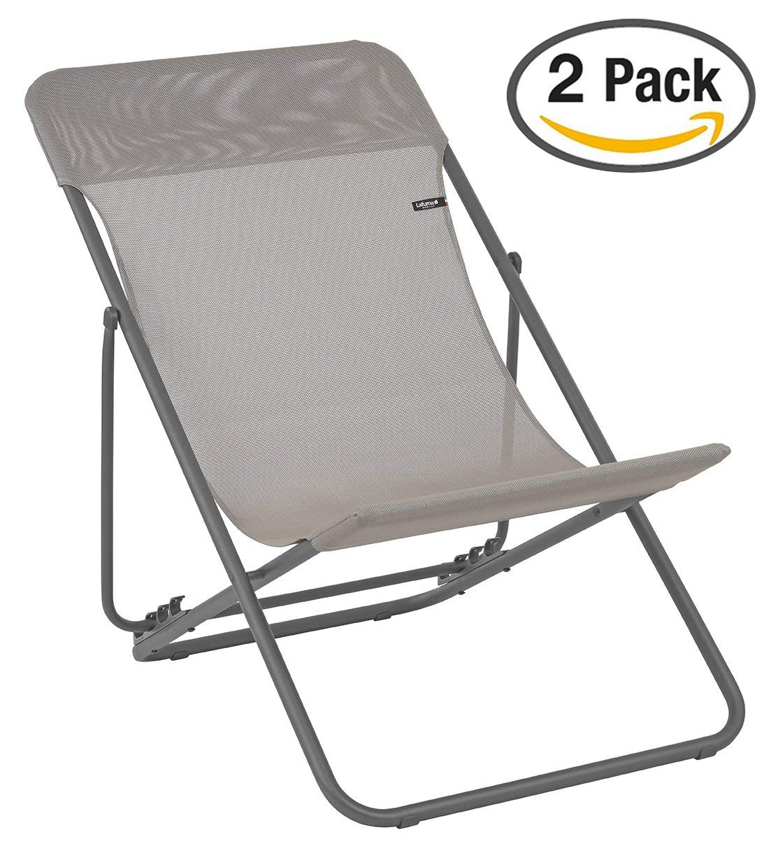 Lafuma LFM2502-8556 Maxi Transat Folding Sling Chair with Basalt Steel Frame and Batyline Fabric, ((Set of 2), Terre