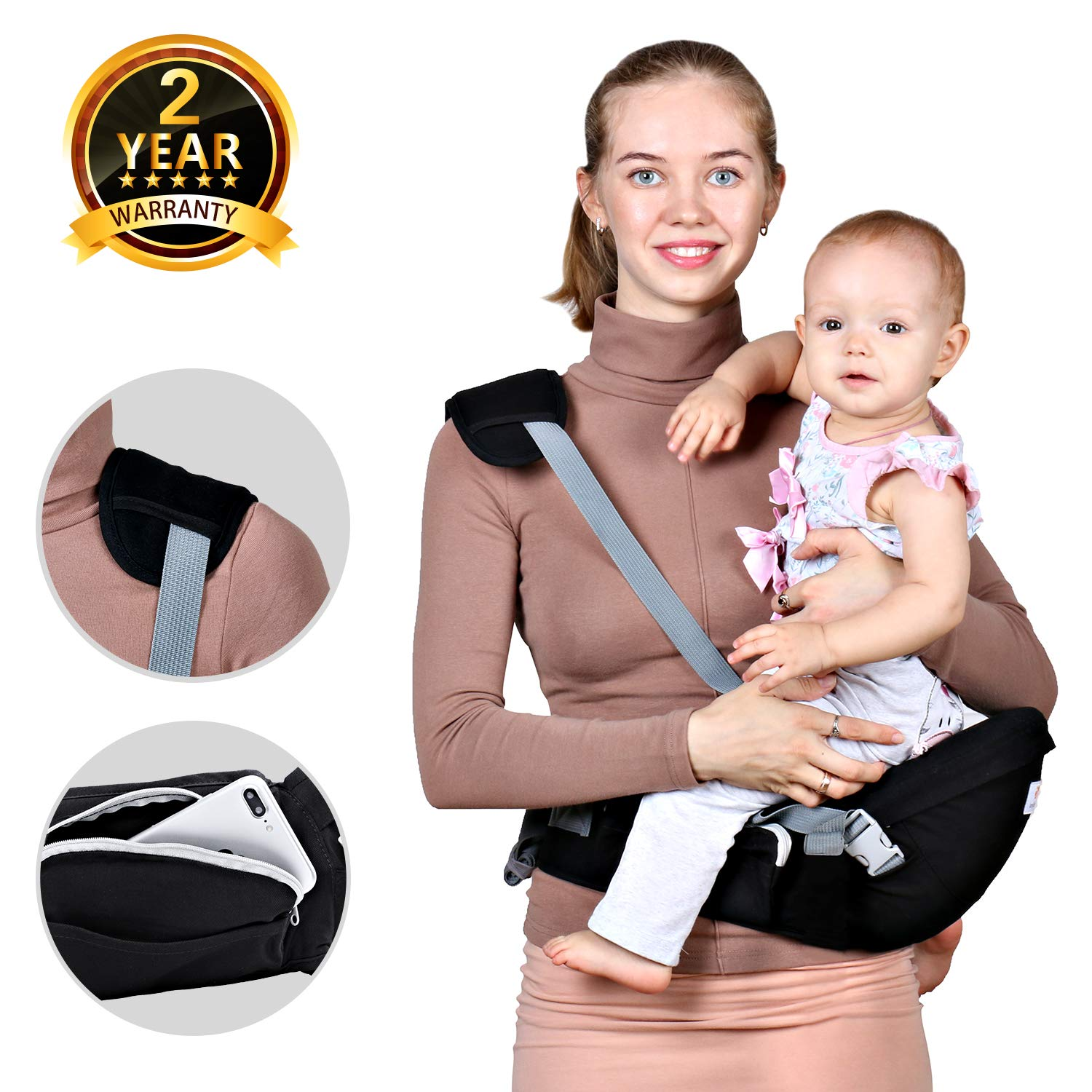 7d6ef00a48a Baby Hip Seat Carrier Waist Stool – Safety Certified Back Pain Relief Soft  Carrier (Ergonomic