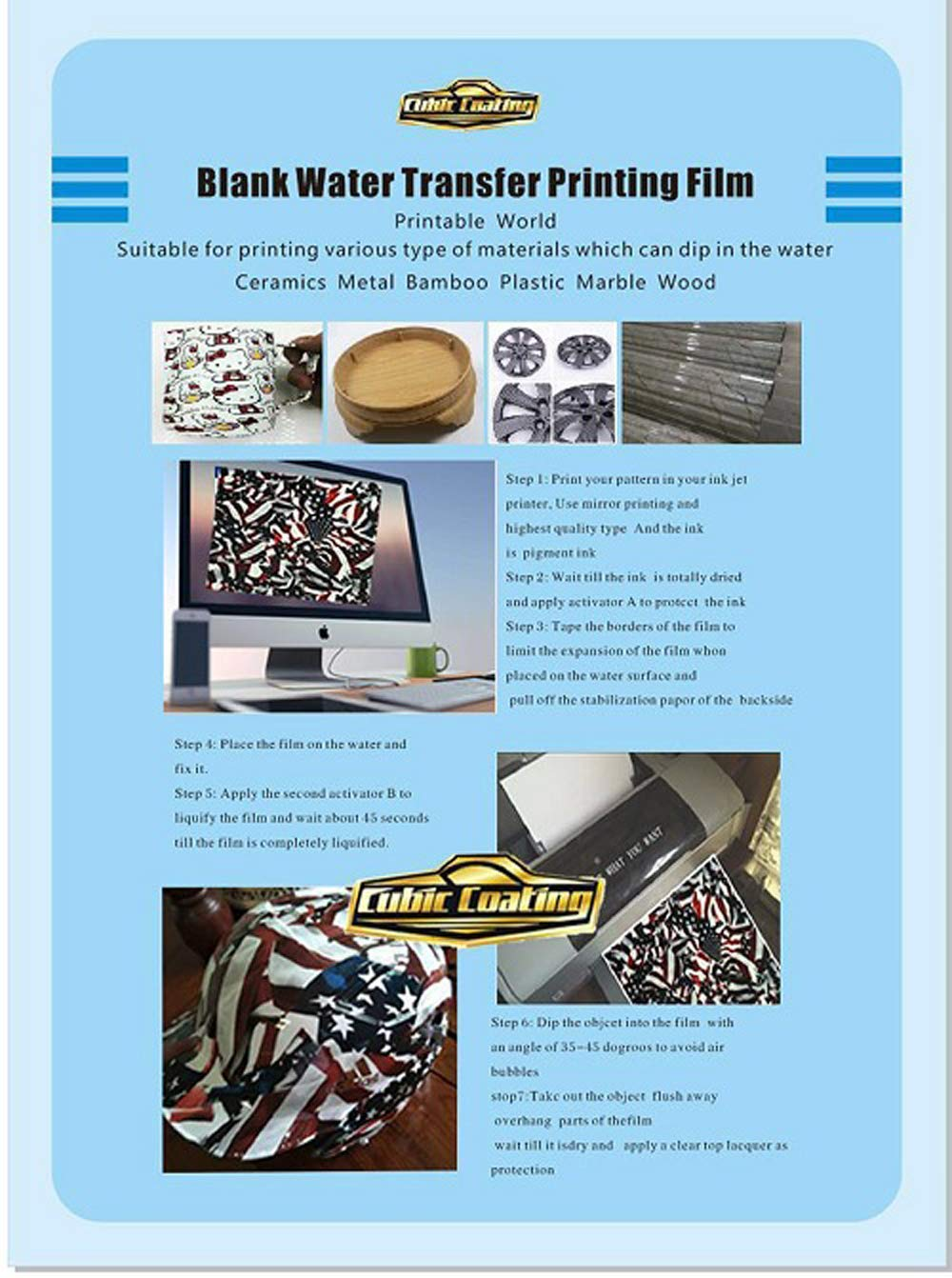 Hydrographics Film - Blank Water Transfer Printing Film - 0.42x6M (16.5'' Width) Size Blank Water Transfer Printing Film - Blank Water Transfer Film by Colorful Hydrographics Coating