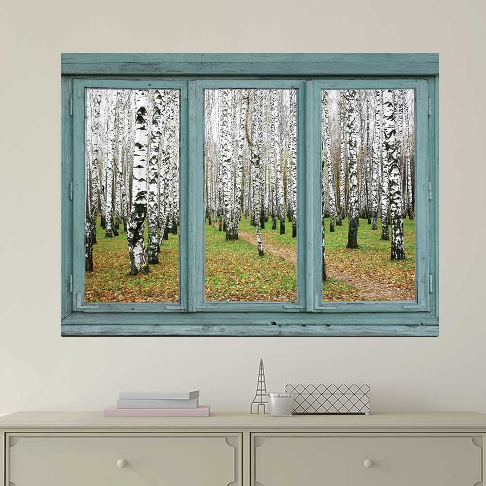 wall26 com art prints framed art canvas prints greeting wall26 vintage teal window looking out into an aspen forest wall mural removable sticker home decor 24x32 inches