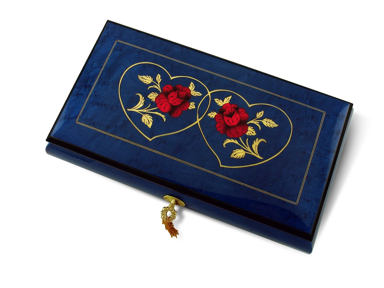 Vibrant Royal Blue Double Red Rose and Heart Musical Jewelry Box - Love is A Many Splendored Thing
