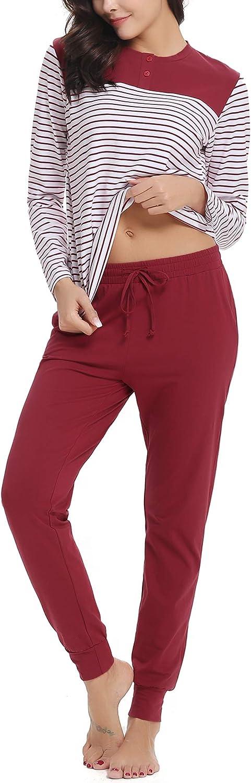 Aibrou Pyjama Femmes Hiver Pantalon en Coton Haut /à Rayure Set De Pyjama