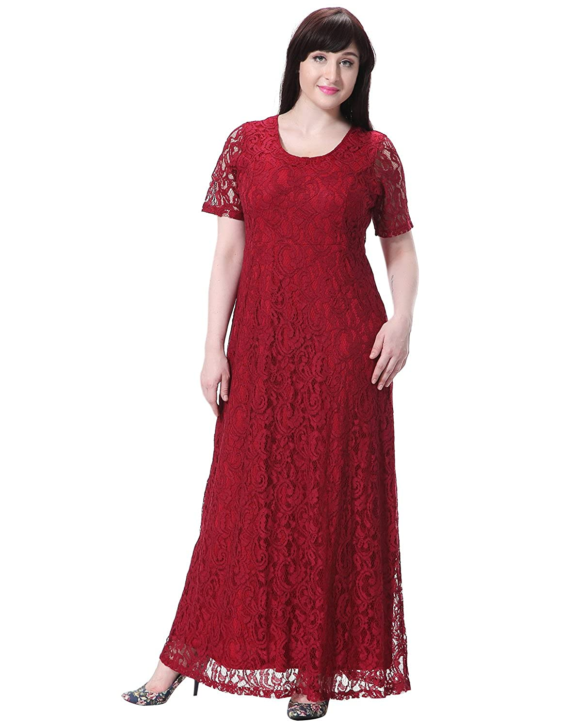 Sue&Joe Women's Plus Size Dress Short Sleeve Full Floral Lace Maxi Evening Gowns