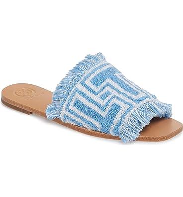 ac9d770d73148 Amazon.com: Tory Burch T-Tile Terry Cloth Flat Slides, Blue Bird ...
