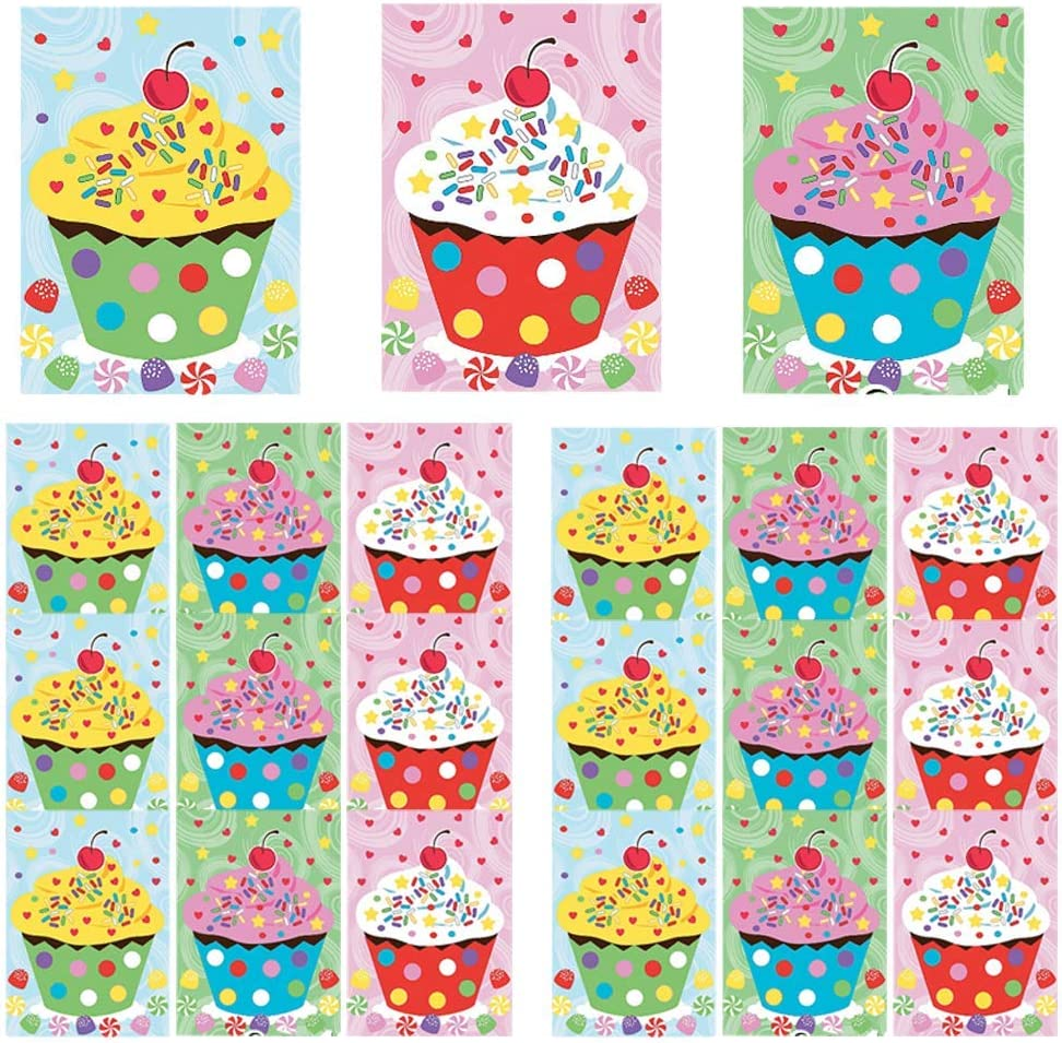 Kicko Make a Cupcake Sticker - Set of 24 Cute Stickers Scene for Birthday Treat, Goody Bags, School Activity, Group Projects, Room Decor, Arts and Crafts