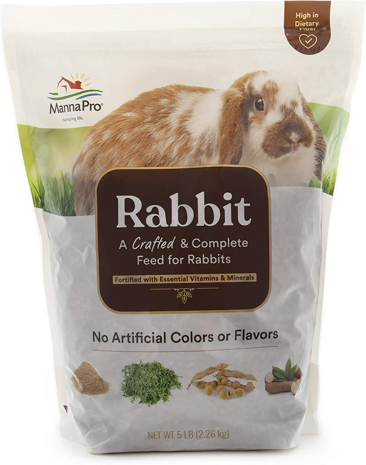 Manna Pro Rabbit Feed | with Vitamins & Minerals | Complete Feed for Rabbits | No Artificial Colors or Flavors | 5lb