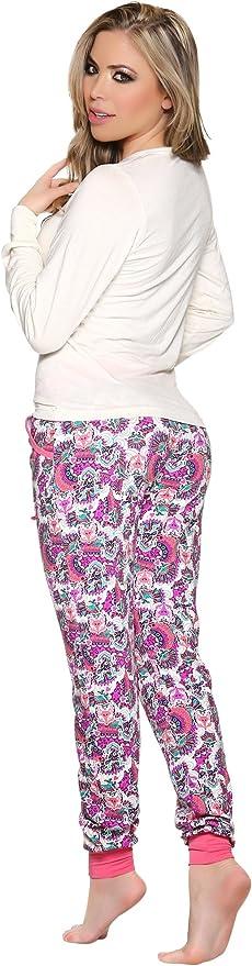 Laura Pijama para Mujer Manga Larga de 2 Piezas Algodón con Brillos