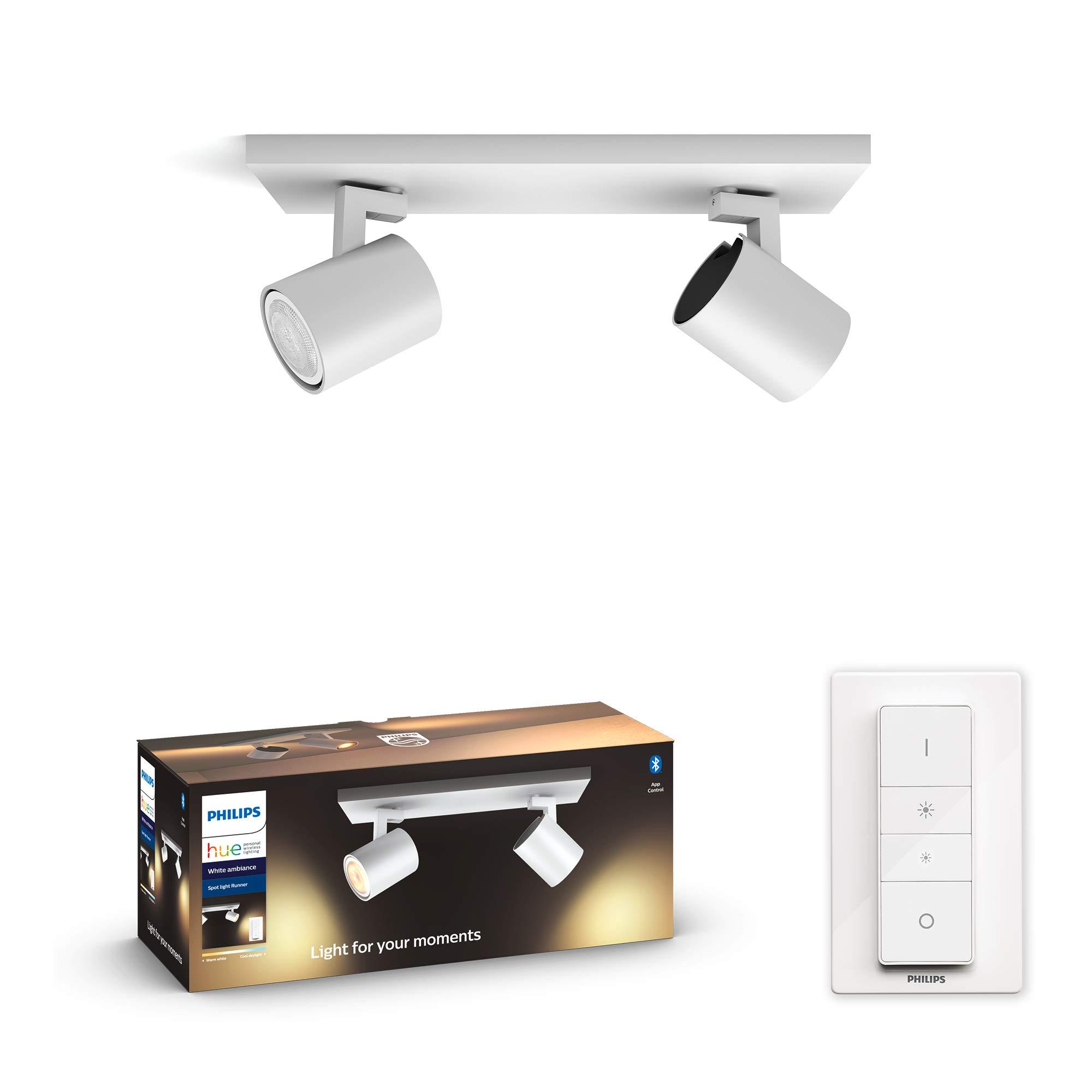 Philips Hue Runner Barrra de 2 Focos Inteligentes LED blancos con Bluetooth, Luz Blanca de Cálida a Fría, Compatible con Alexa y Google Home
