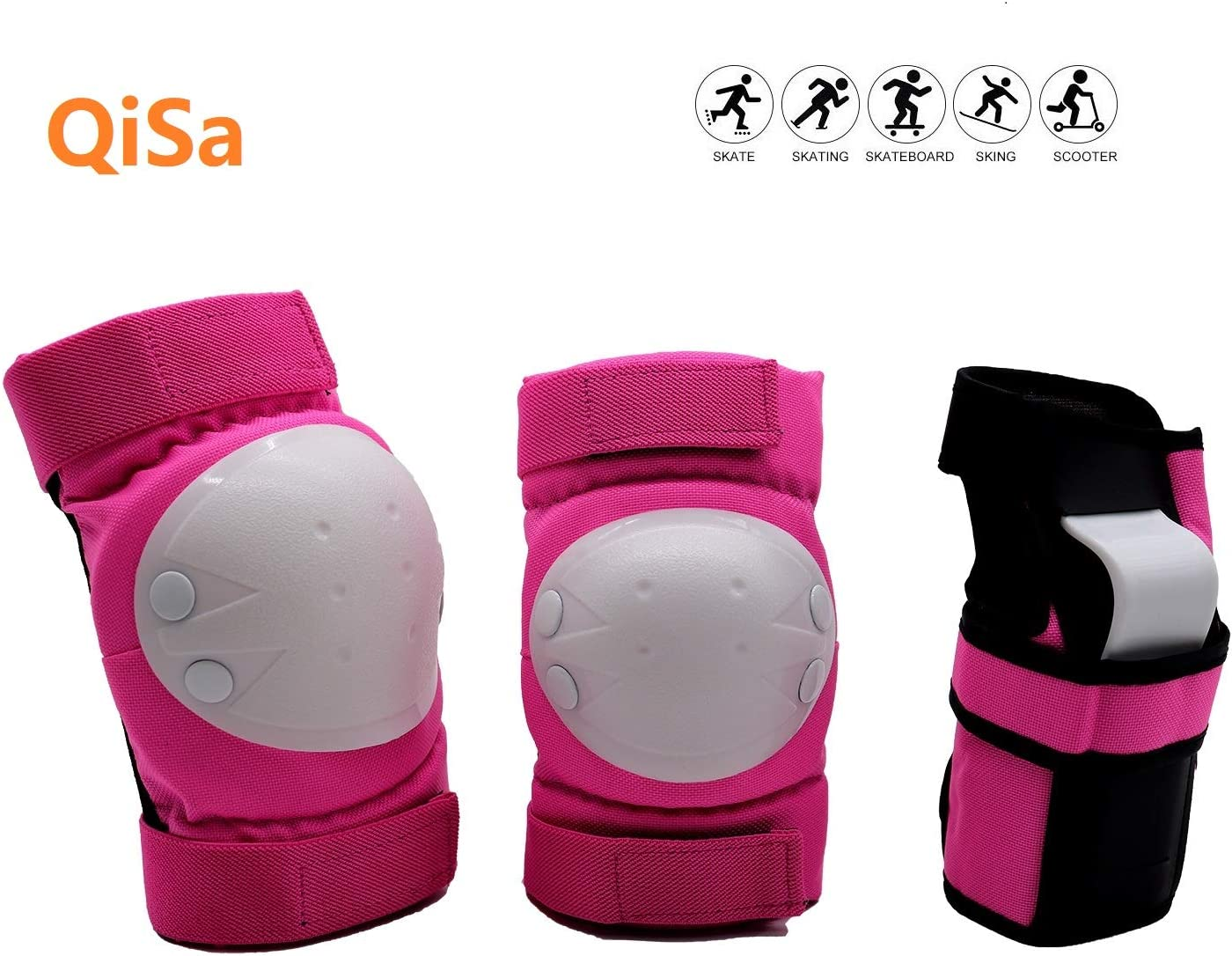 QiSa Kids & Adults Knee and Elbow Pads with Wrist Guards Protective Gear Set : Sports & Outdoors