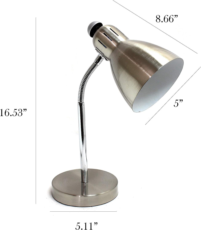 Simple Designs Home Ld1037 Bsn Simple Designs Semi Flexible Desk Lamp Brushed Nickel Amazon Com