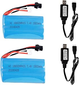 YOYL 2 Pcs H101 7.4V 1500mAh Battery SM Plug and 2 USB Charger Cable for Contixo T2 H105 H103 H101 Remote Control RC Boat H101 Battery & UDI U12A