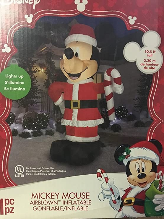 amazoncom christmas disney inflatable giant 10 12 led mickey mouse santa w candy cane by gemmy garden outdoor