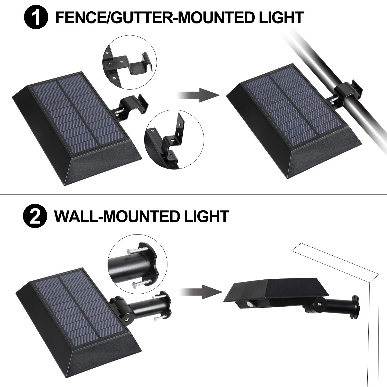 [1 Pack] Solar Gutter Lights, 30 LED PIR Motion Sensor Solar Lights, T-SUNRISE Waterproof Security Lamp for Outside Garage Door,Wall,Stairs Anywhere Safety Lite with Bracket (6000K-Black) by T-SUNRISE (Image #3)