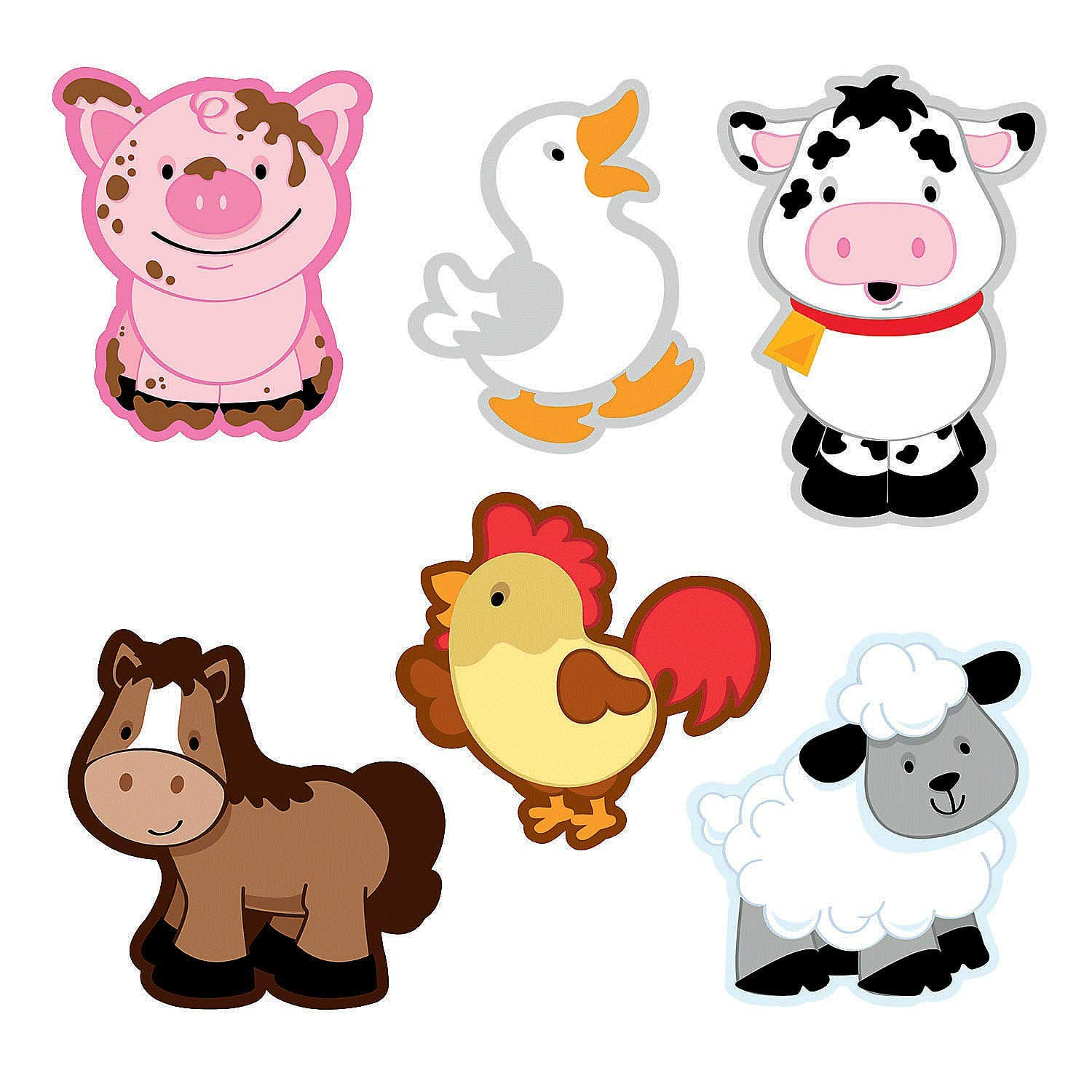Fun Express Farm Animal Bulletin Board Cutouts - 48 pcs