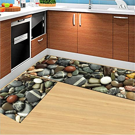 2 Piece Kitchen Sink Rugs and Mats Non Skid Rubber  Backing/Absorbent/Durable Floor Mat for  Kitchen/Bathroom/Entrance(15.7\'\'x23.6\'\'+15.7\'\'x 47.2\'\')