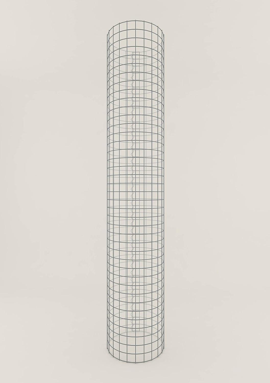 Säule Steinkorb-Gabione rund, Maschenweite 5 x 5 cm, Höhe 200 cm, Spiralverschluss, galvanisch verzinkt (37 cm Durchmesser)