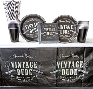 Vintage Dude Party Supplies Pack for 16 Guests Includes: Straws, Dessert Plates, Beverage Napkins, Cups, and Tablecover (Bundle for 16)