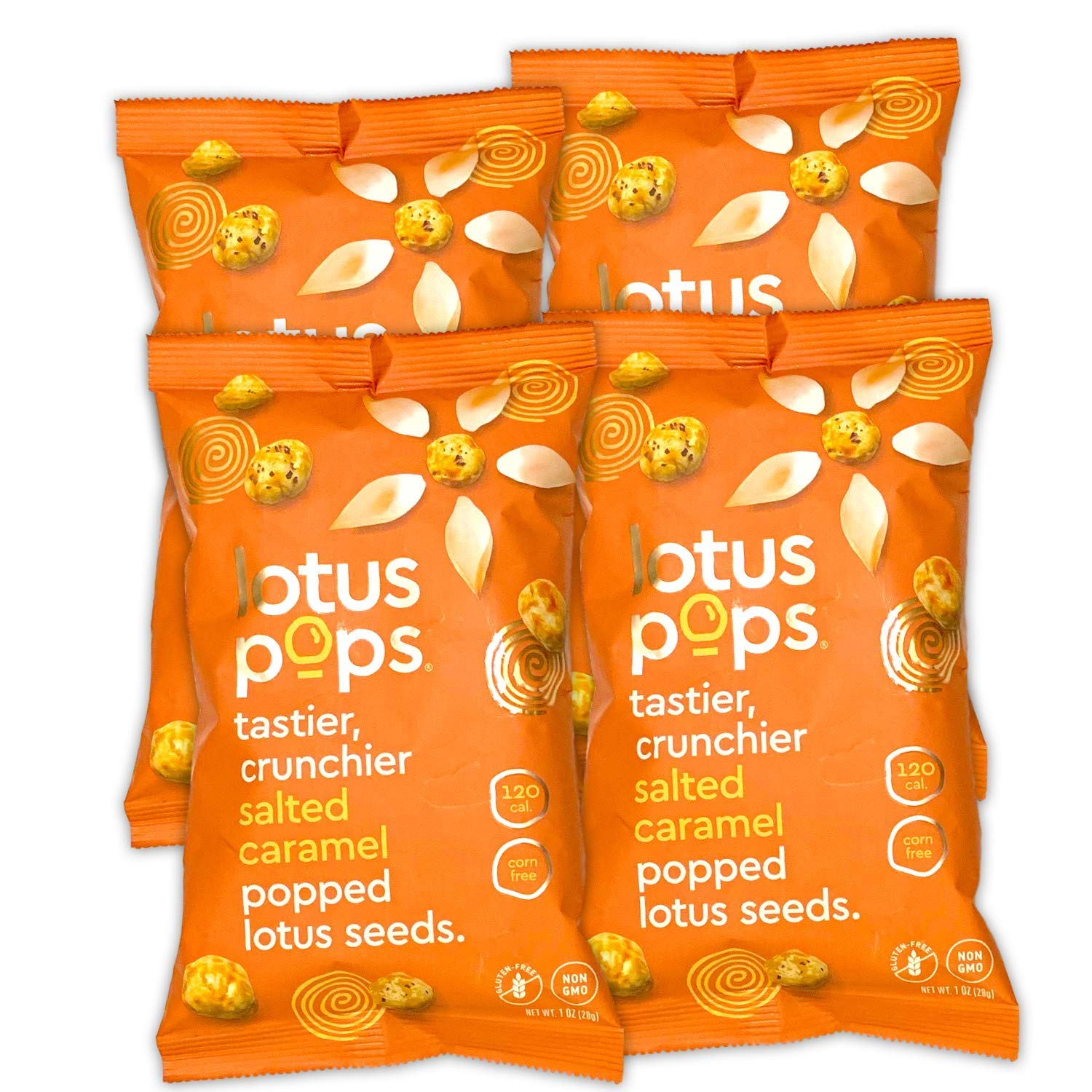 Lotus Pops - Popped Lotus (Water Lily) Seed Snacks – Low Calorie Gluten Free Snacks | Plant Protein | Roasted Not-Fried | Paleo | GrainFree | Non GMO | Healthy Dessert | (Salted Caramel 4 1oz Packs)