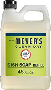 Mrs. Meyer's Clean Day Liquid Dish Soap Refill, Cruelty Free Formula, Lemon Verbena Scent, 48 oz