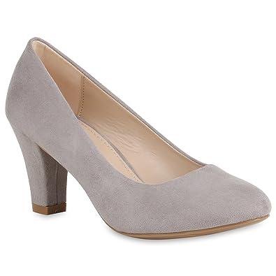Stiefelparadies Klassische Damen Pumps Business Schuhe Basic  Wildleder-Optik Heels 157354 Grau 36 Flandell 36ebe9f191