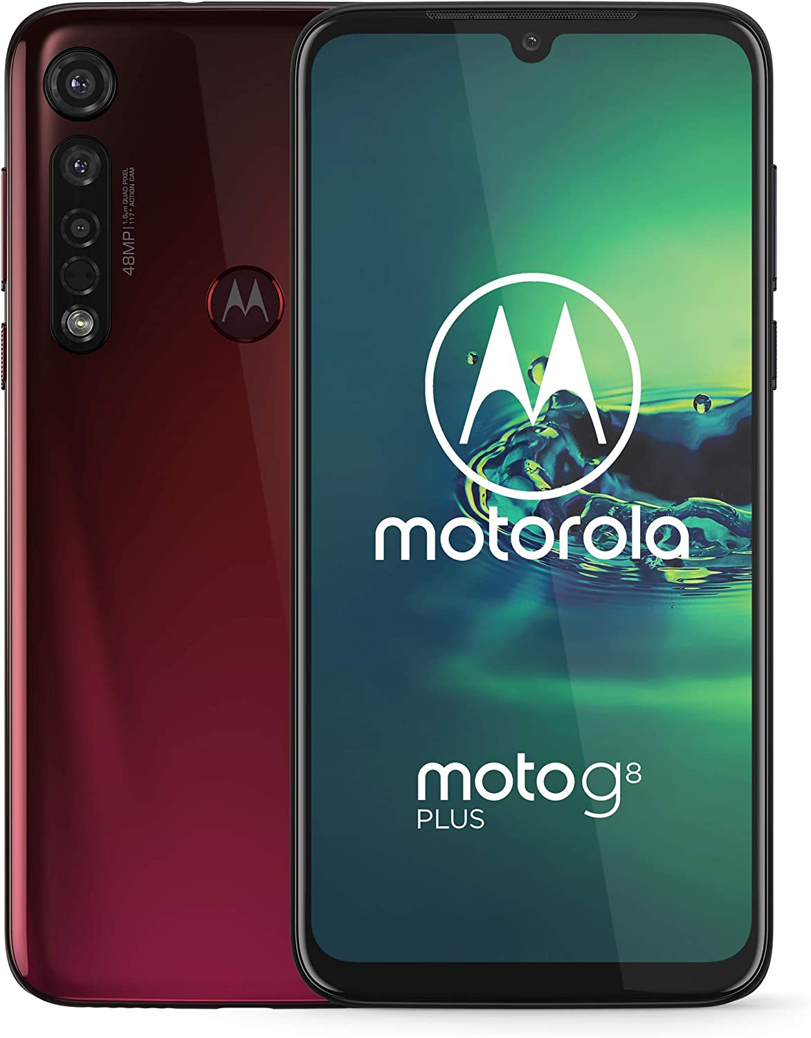 "Motorola Moto G8+ Plus (64GB, 4GB) 6.3"", Snapdragon 665, 48 MP Camera, 4000mAh Battery, Dual SIM GSM Unlocked (at&T/T-Mobile/MetroPCS/Cricket/H2O) XT2019-2 - International Version (Red, 64 GB)"