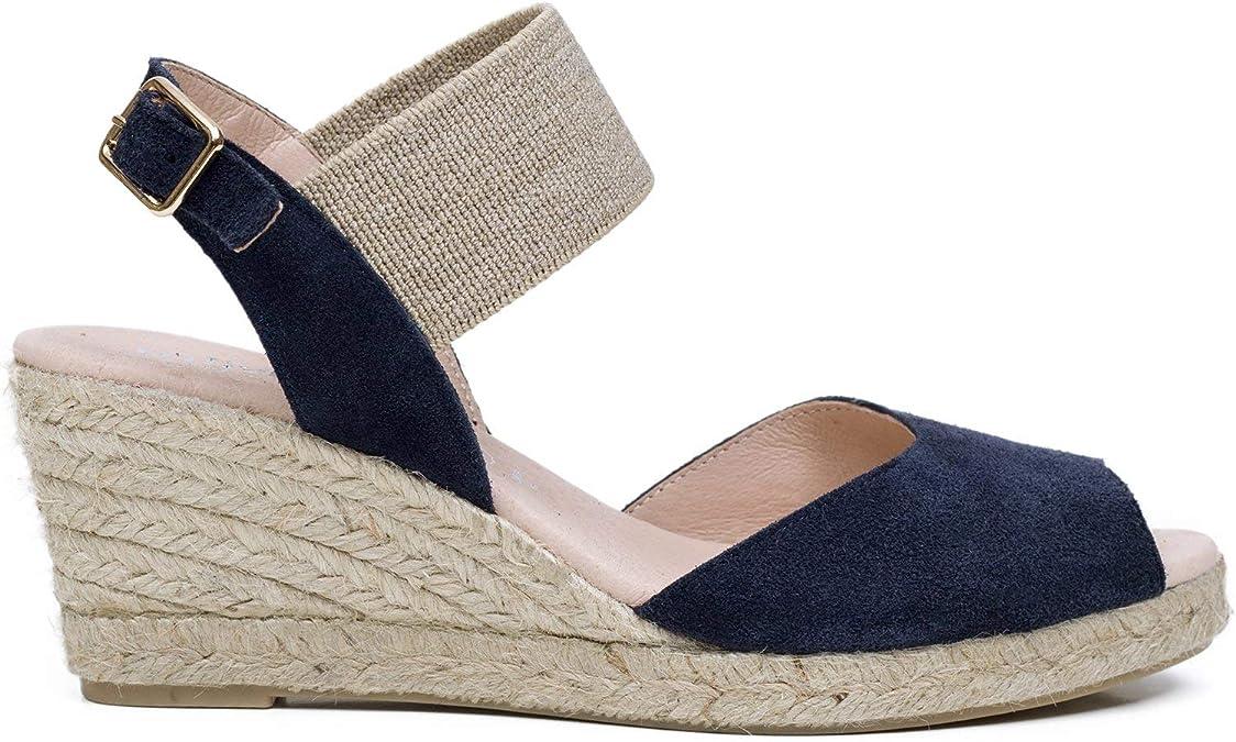 Cala – Cuña de Esparto Peeptoe Azul Marino: Amazon.es: Zapatos y ...