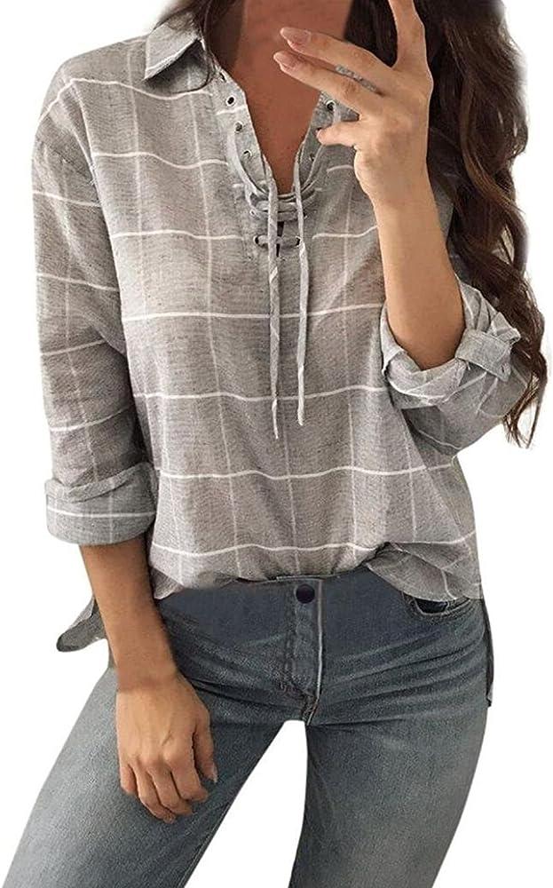 junkai Moda Camiseta a Cuadros Mujer, Elegante Primavera Otoño Shirt Collar Abatible Blusa a Cuadros Casual Camisa Tops: Amazon.es: Ropa y accesorios