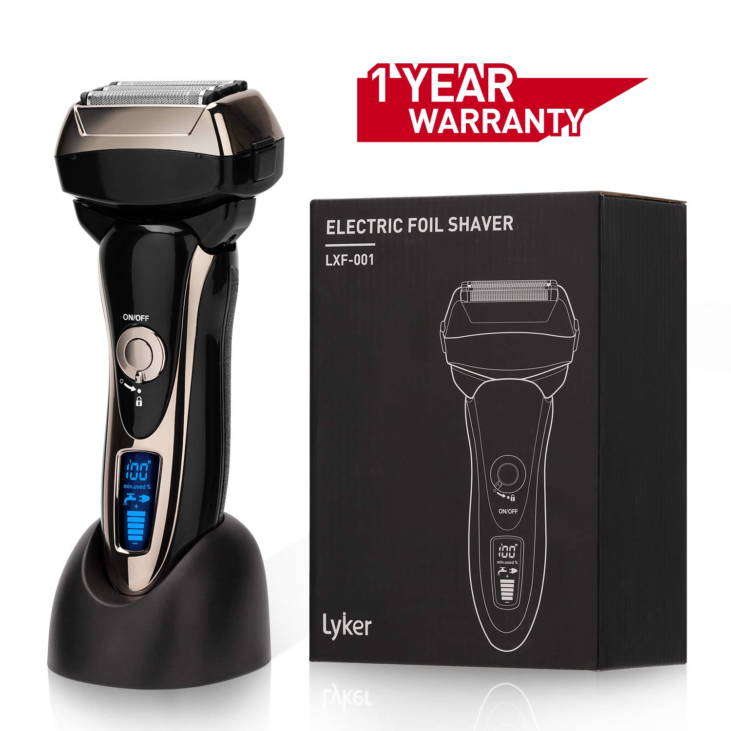 Men s Electric Foil Shaver Electric Razor,Foil Shaver Rechargeble, 4-Blade with Multi-Flex Pivoting Head and Dual Motor