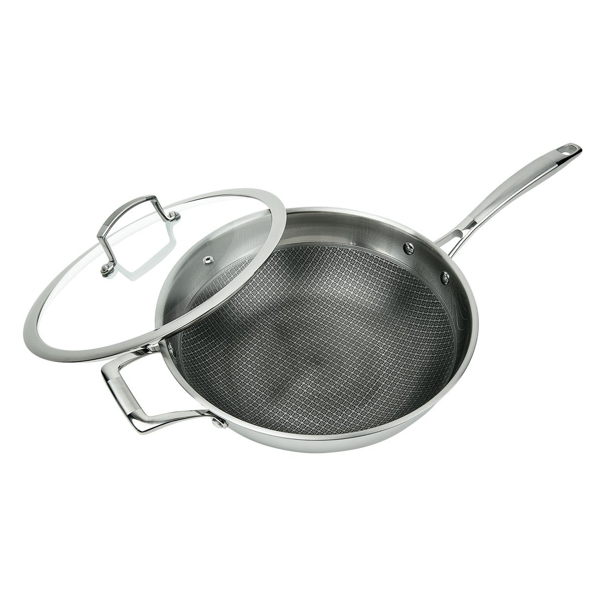 MasterPan MP102 3-PLY Stainless Steel Premium ILAG Non-Stick Scratch-Resistant Wok, 11''