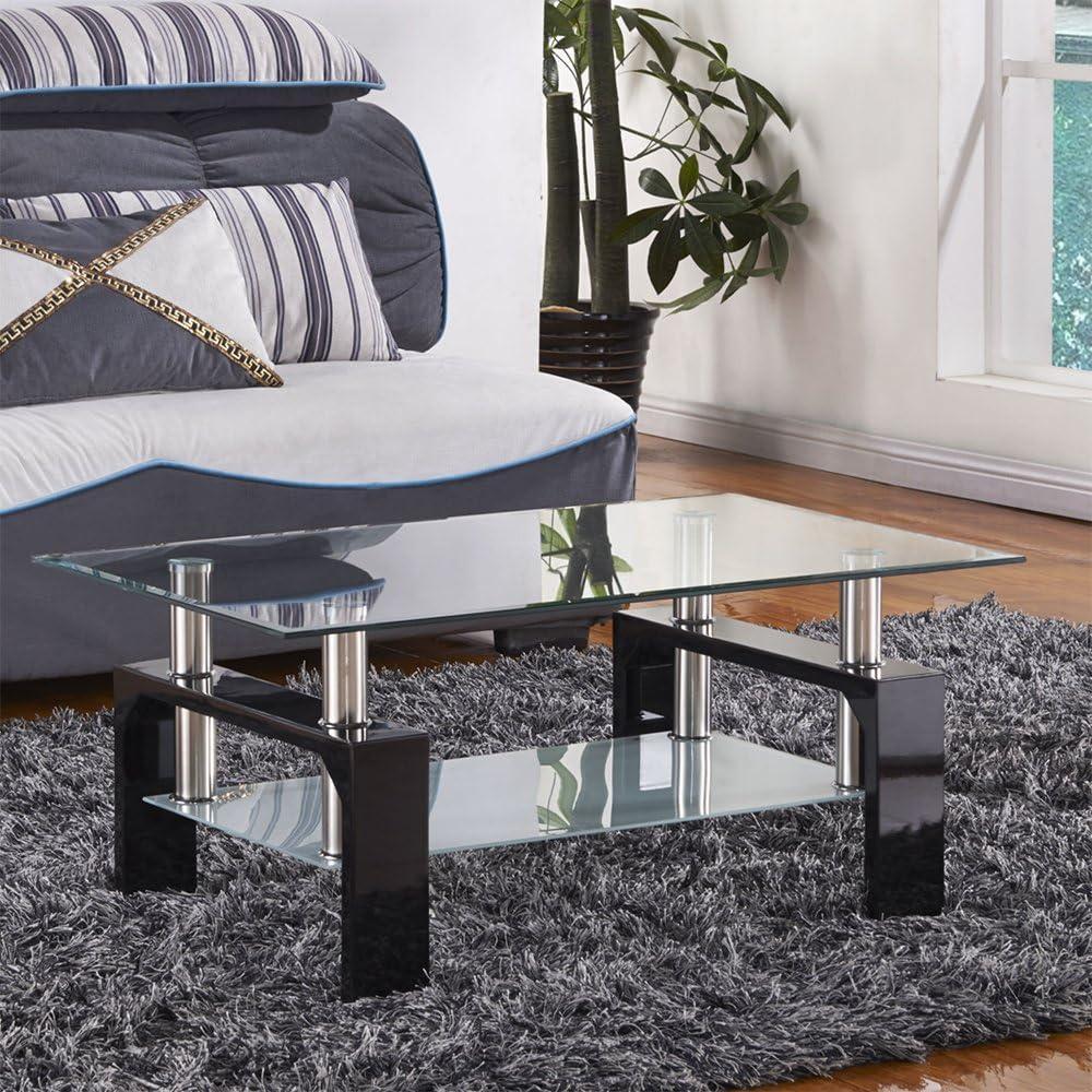 Joolihome Modern Design Coffee Table Glass Top Wooden Leg High Gloss Rectangular Side Table With Storage Stylish Living Room Furniture Black Amazon Co Uk Kitchen Home