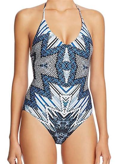 aec343d65a99c YUNY Womens Deep V-Neck Halter Print One-Piece Beach Bikini Swimwear Blue US
