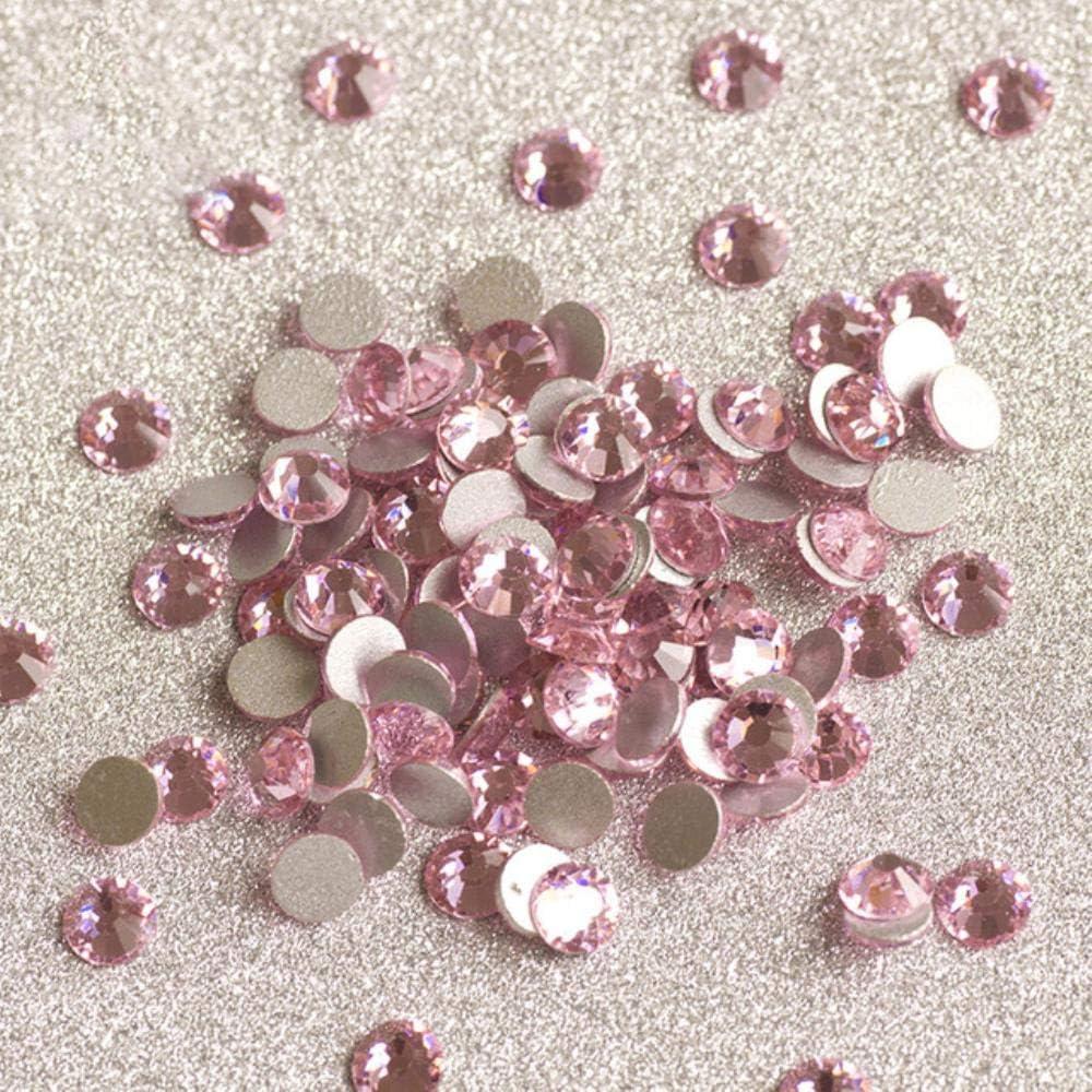PENVEAT 2058 Todas Las uñas de Color Piedras del Strass Fijación en frío DIY Cristales sin revisión Cristal Plano Rhinestone en la Ropa, Rosa Claro, SS10 1440Pcs