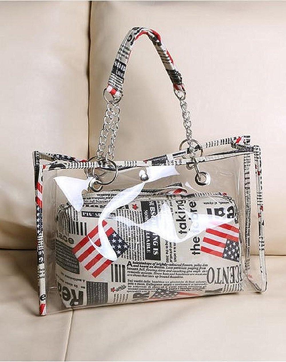 2 In 1 Clear Tote Bag Transparent Beach Shoulder Bag Wallet Swimming Purse Handbags