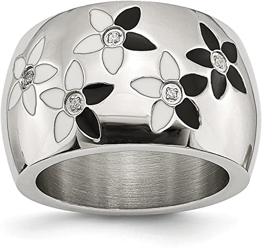 CHISEL BRAND  STAINLESS STEEL CLADDAGH WITH CROSS  WEDDING BAND RING SIZE 5