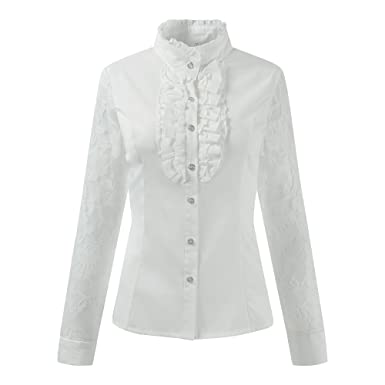 34832cdeeac Ourlove Fashion Women Stand-Up Collar Lotus Ruffle Shirts Vintage Victoria Long  Sleeve Blouse (UK 10(Tag L), Off-White (Lace)): Amazon.co.uk: Clothing