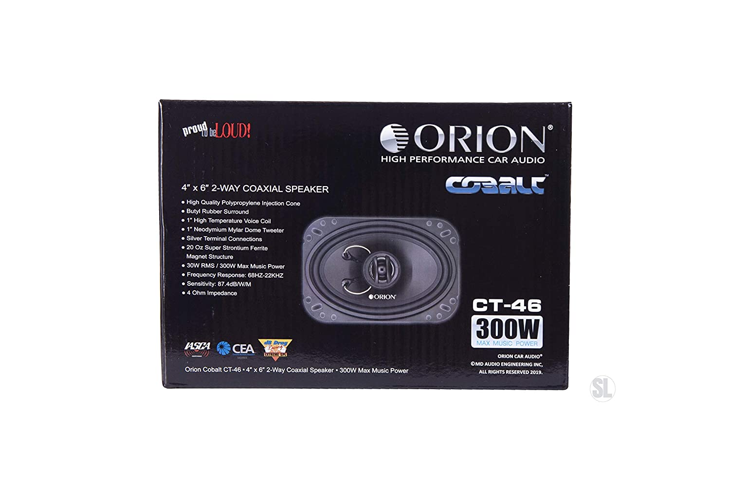 ORION Cobalt Series CT-46 4X6 2-Way COAXIAL Speaker 300 WATTS MAX Music Power 4 OHMS CAR Audio CAR Stereo Speaker