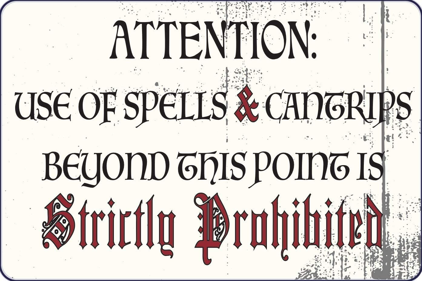 "RPG Game Room 12"" x 8"" Sign Attention Spells and Cantrips Prohibited Role Playing Gamer Decor Board game Table Top Game Garage Man Cave Wall Art"