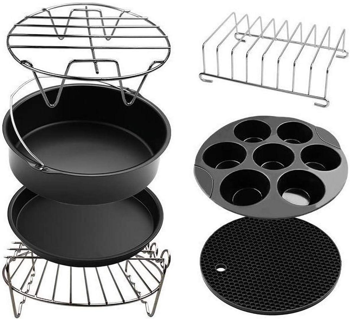 JZJSZB Air Fryer Accessories, Set of 7 Fit All 4.8QT - 6.3QT Air Fryers, BPA Free, Nonstick Coating, 8 Inch Air Fryer Accessories Set