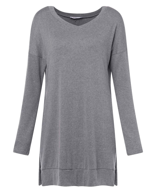 kenoce kvinnors jumper klänning långärmad v-ringad tunika tröja toppar lös lång jumper pullover kausal t-shirt klänning överdimensionerade blusar A-plain Grey