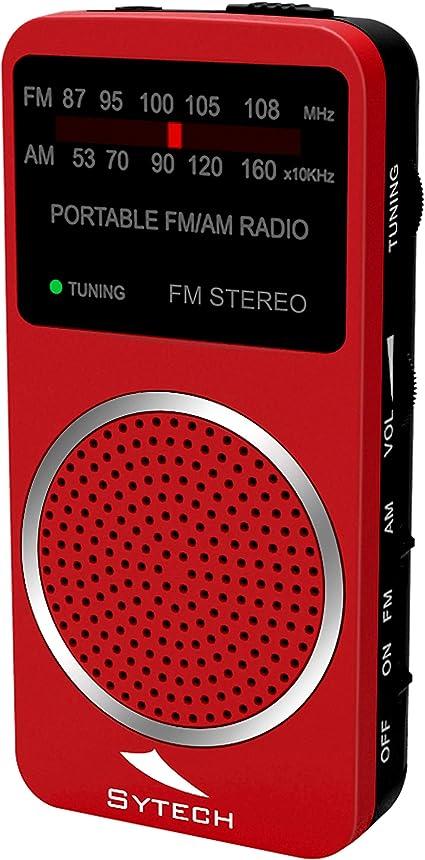 Sytech - SY1675RJ - Radio de Bolsillo, Color Rojo | Sintonizador Analógico Am/FM con Entrada Auriculares: Amazon.es: Electrónica