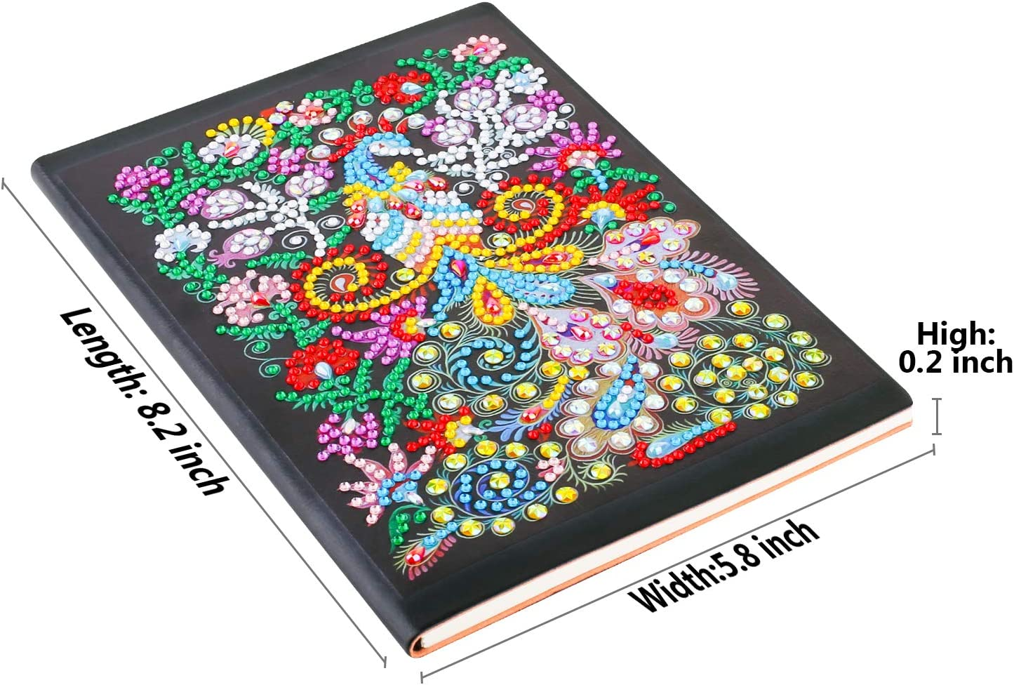 Diamond Painting Notebook Diamond Art Cover Diary Book DIY Journal Book 104 Pages A5 Plain//Blank Book for Writing and Planning Colorful Peacock