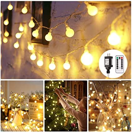 new product 8da8c d9646 Globe String Lights, 100 LED Decorative String Lights Outdoor, Plug in  String Lights, Waterproof Fairy Lights Remote Control, 44 Ft, Warm White  String ...
