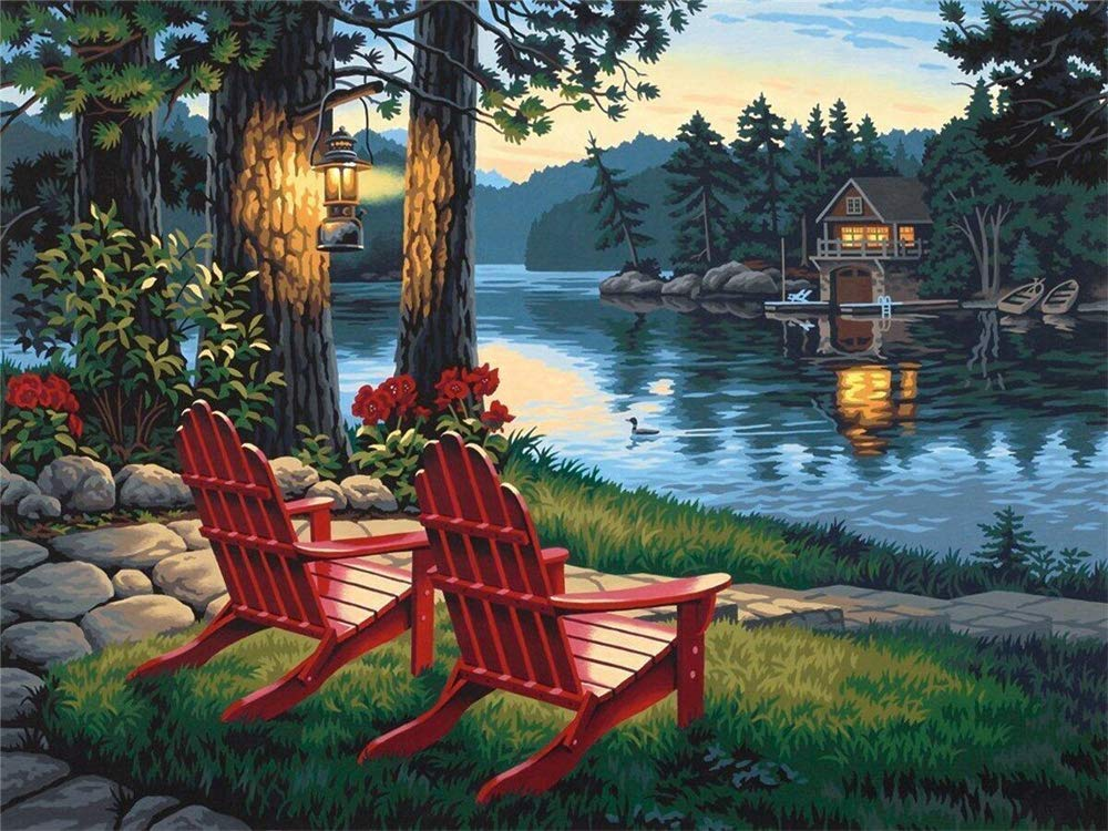 DIY 5D Diamond Painting Number Kits Full Drill Rhinestone Embroidery Cross Stitch Pictures Arts Craft Home Wall Decor Gift, Lake red chair Kissme8