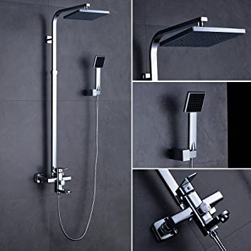 aruhe® Alcachofa de ducha Set con grifo para baño y bañera con 20 x 20