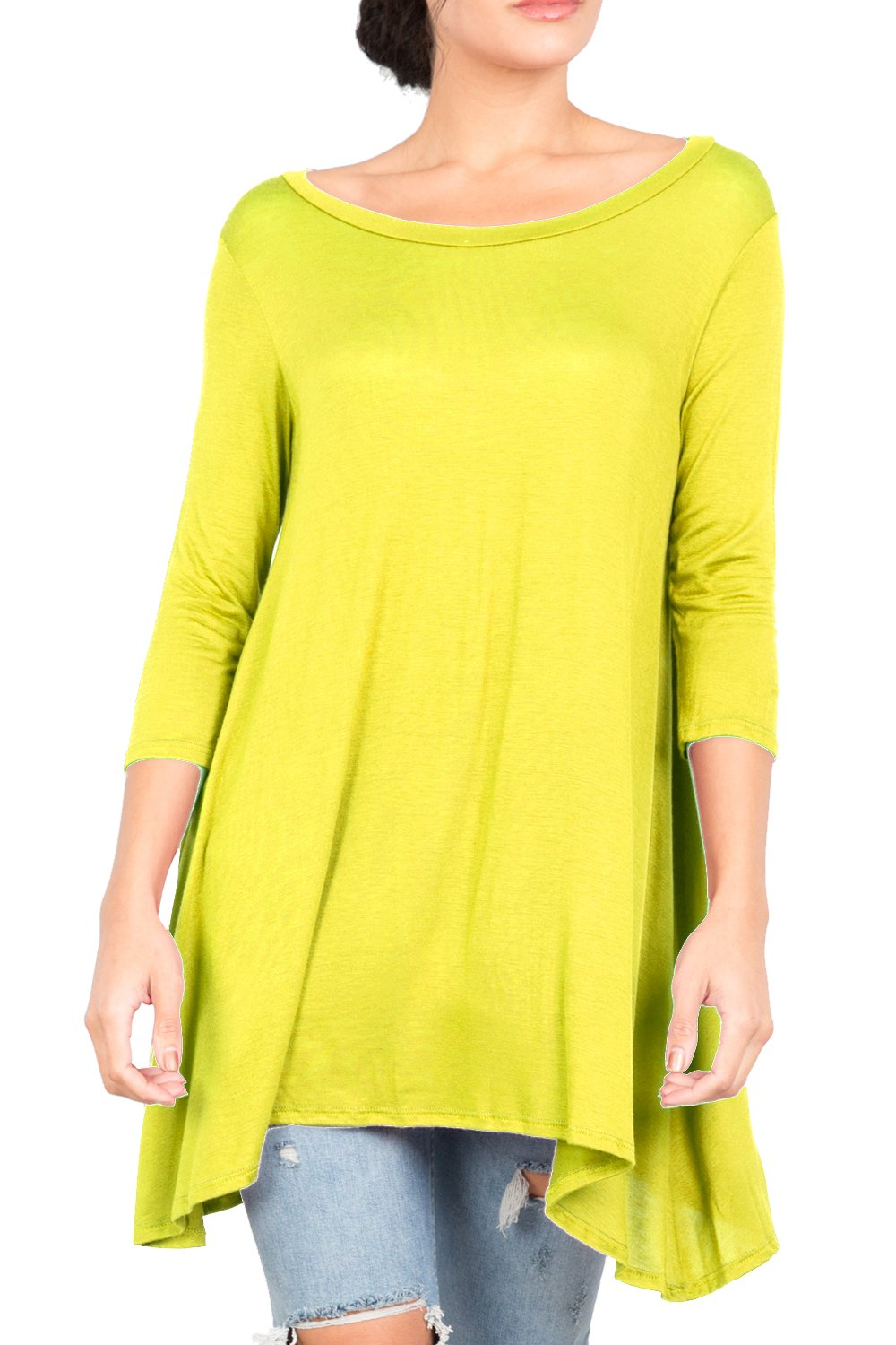 T2411PX 3/4 Sleeve Round Neck Relaxed A-Line Tunic T Shirt Top New Lime 2X