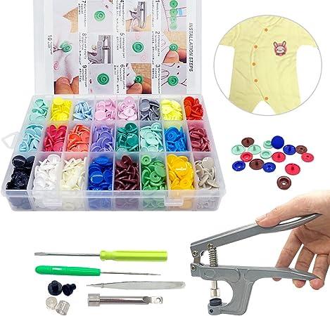 Pinze a Scatto Bottoni a Pressione 24 Colori Set 360 Bottoni in Resina T5