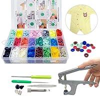 360pcs Boutons Pressions Plastiques T5 24 coloris + lot de Pince en Métal