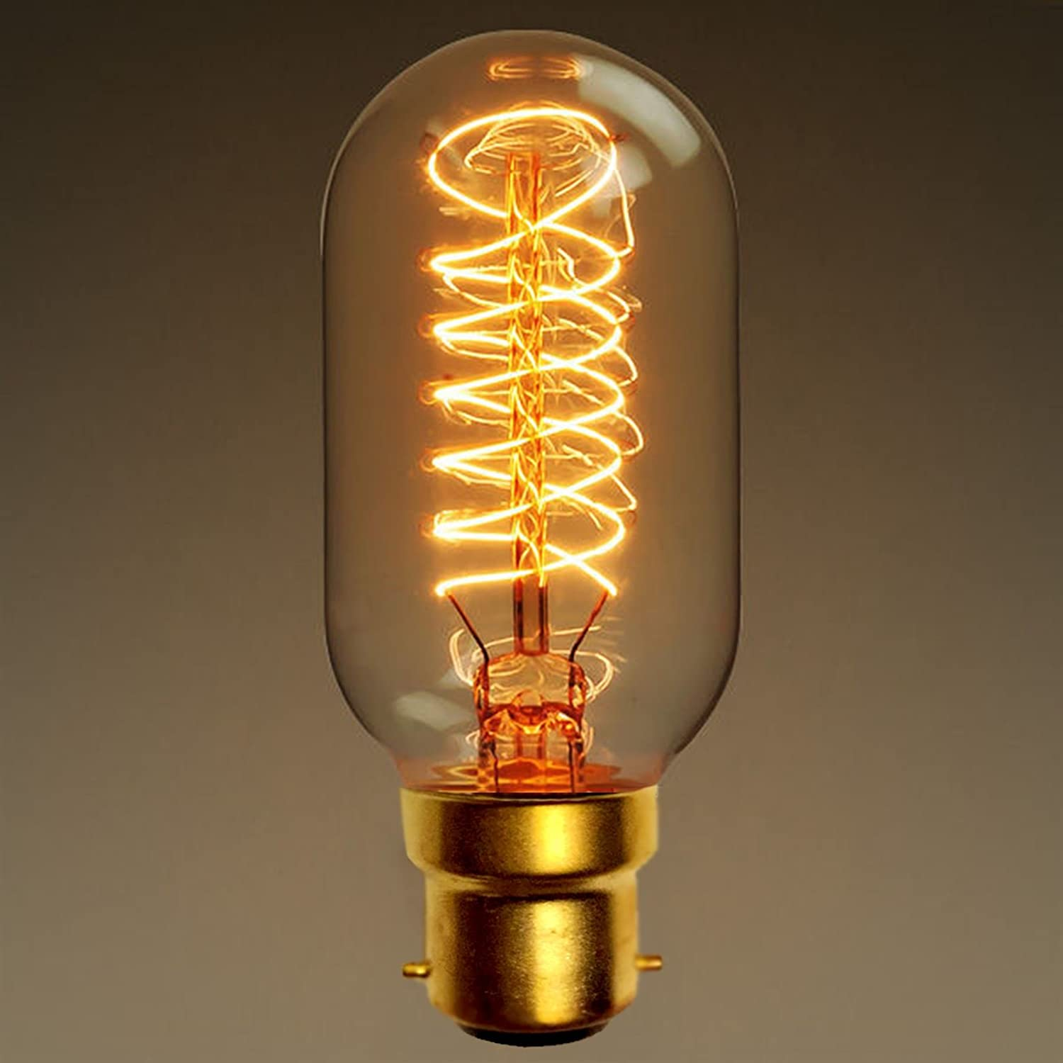 Dimmable Vintage Edison Light Bulbs Retro Style Industrial paul russells 3 X T45 Radio valve Spiral Bayonet Cap Filament Amber Glass Antique Decorative Light BC B22 2700K Warm White 40W Incandescent Lamp [Pack of 3 Bulbs]