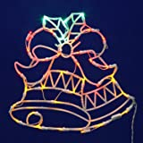 """Vickerman Lighted LED Double Bell Christmas Window Silhouette Decoration, 15"""""""